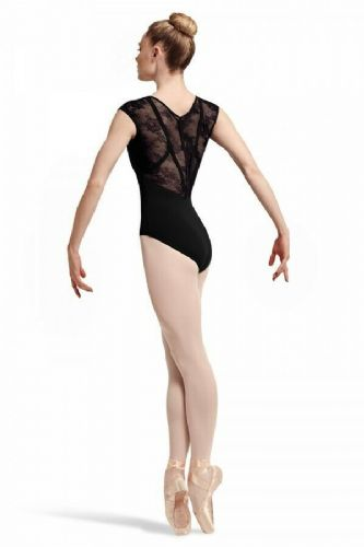BLOCH Ladies Dance Cap Sleeve Leotard Floral Lace Panels Ribbon Back Hava L7714